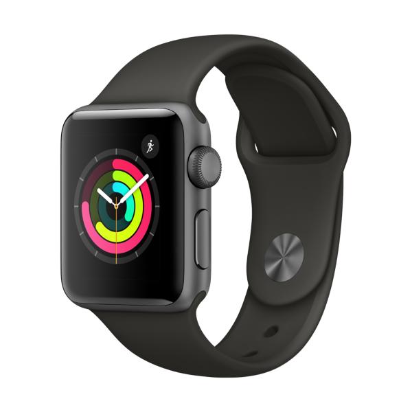 Apple Watch Series 3 GPS 42mm Aluminiumgehäuse Space Grau mit Sportarmband Grau