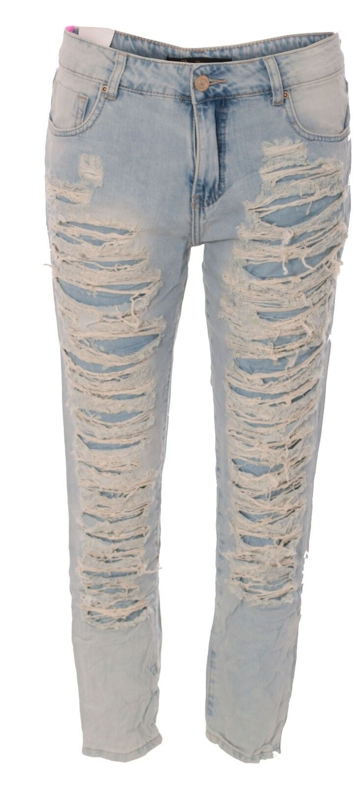 Ladies Ripped Distressed Destroyed Trashed Boyfriend Fit Denim Jeans Straight