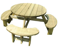 Seater Round Picnic Table Wooden Bench Pub Garden Seating EBay - 8 seater round picnic table