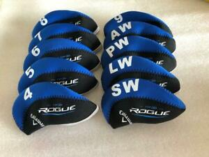10PCS-Protective-Iron-Headcovers-for-Callaway-Rogue-Club-Covers-4-LW-Blue-amp-Black
