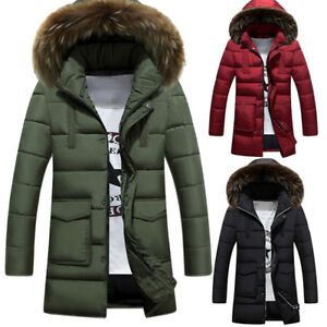 Men-039-s-Military-Warm-Down-Cotton-Jacket-Fur-Collar-Thick-Winter-Hooded-Coat-Parka