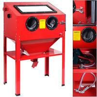 60 Gallon Vertical Sandblast Cabinet 40lb Bottom Feed Hopper Sand Blaster Red