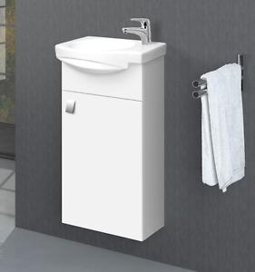 Badmöbel Set Gäste WC Waschtischunterschrank Keramikwaschbecken  Spiegelschrank