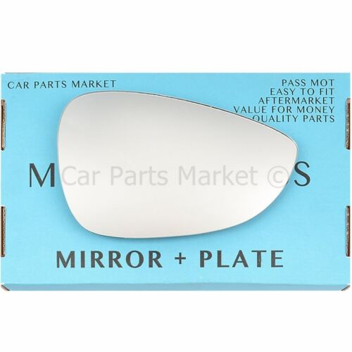 For Ford Fiesta 08-17 Right Driver side Flat wing mirror glass with plate