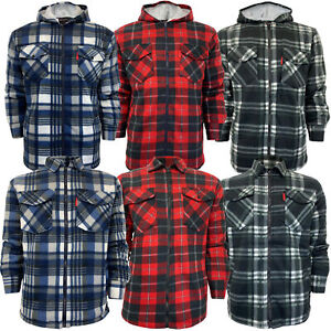 Mens-Sweatshirt-Hooded-Top-Shirt-Lumberjack-Flannel-Jacket-Check-Sherpa-Fleece