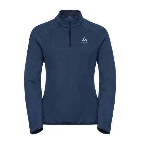 RRP 64,99 ODLO Pullover 1//2 Zip Carve Warm Long Sleeve Shirt Womens Navy
