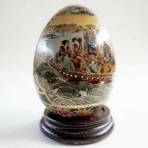 Antique-vintage-SATSUMA-China-Japan-4-375-034-Hand-Painted-Porcelain-Egg-Asian