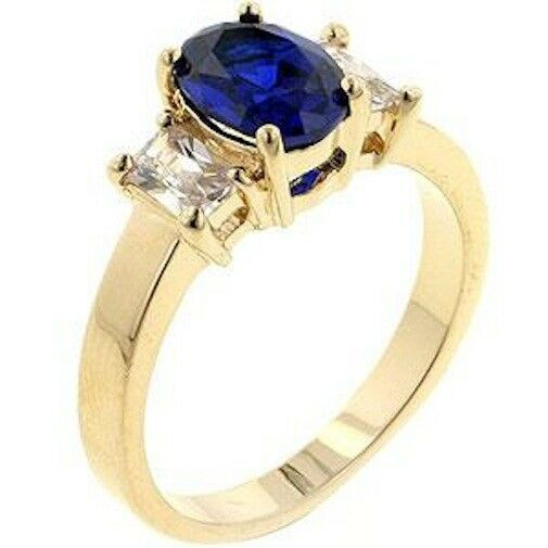 Gold Simulated Sapphire Ring Plated Triplet 3 Stone Blue Cubic Zirconia Size 10