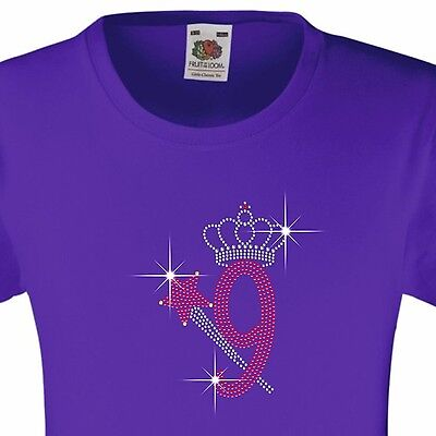 """Girl/'s Birthday TShirt /""""7 with crown /& wand/"""" Rhinestone Embellished-Many Colours"""
