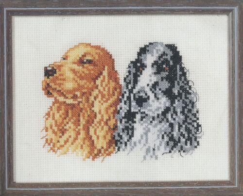 Stickpackung Stickbild Cross stitch Telpakket Pako 13x17 cm Cocker Spaniel Hund
