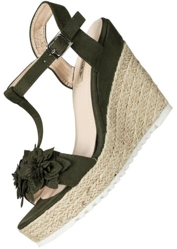 50/% OFF B17073719 Damen 77 Lifestyle Sandalette Keilabsatz 11cm Absatz dk grün