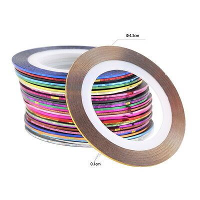 30 Pcs Mixed Colors Rolls Striping Tape Line Nail Art Tips Decoration Sticker GO