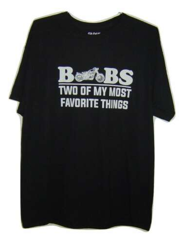 BIKERS LOVER /'BOOBS TWO OF MY MOST FAVORITE THINGS/' BLACK T//SHIRT ALL SIZES
