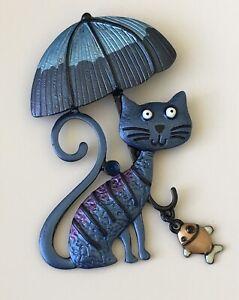 Adorable-Cat-with-umbrella-dangling-fish-large-Pin-Brooch-enamel-on-Metal