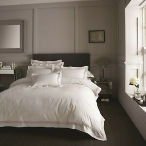 NEW White Pink Oxford Hotel Collection Stripes Bedding Bed Duvet Set All Sizes