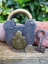 Antique Vintage Padlock with one key, working order, hobby, collector 03