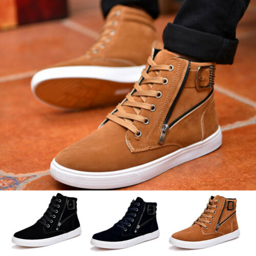 Korean Style Mens Fall Shoes High Top Suede Leather Canvas Sneakers Winter Shoes