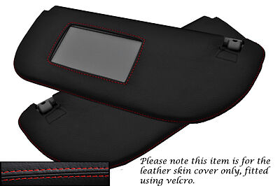 RED STITCHING FITS PEUGEOT 106 1991-2004 2X SUN VISORS LEATHER COVERS ONLY