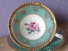Vintage 1950's Paragon pink rose tea cup, Turquoise and gold bone china teacup