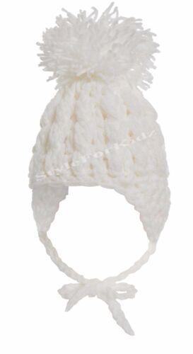 BABY BOY GIRL WHITE BLUE PINK KNITTED CROCHET POMPOM HATS BOBBLE TIE CAP