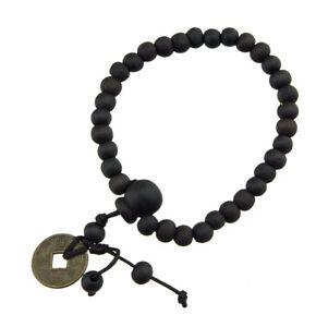 Braccialetto Mala Tibetano Perle Legno Nero Ø 5 MM Moneta Sapeke 25838 10bis C