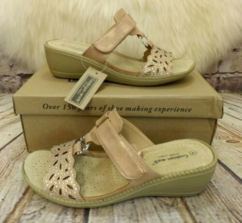 Womens Cushion Walk Felicity Gold Touch Fastening Mid Heel Sandals VARIOUS SIZES