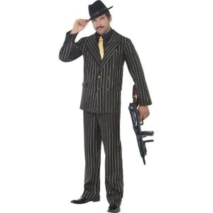 NEW-Gold-Pinstripe-Black-Gangster-Suit-1920-039-s-Gatsby-Mens-Fancy-Dress-Costume