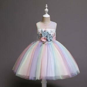 Childrens-Girls-Beautiful-Rainbow-Flower-Embroidery-Princess-Dress-Ball-Gown-ZG9