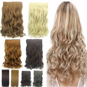 Thick-Clip-in-Hair-Extensions-One-Piece-Full-Head-Wavy-Straight-Hairpiece-New