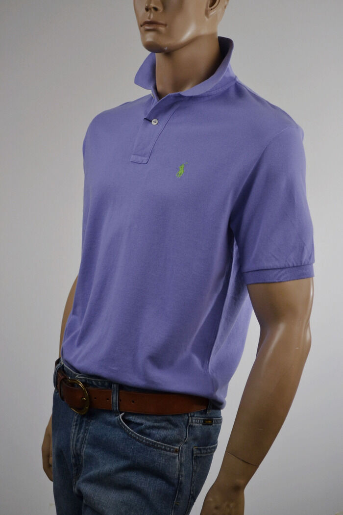 Ralph Lauren Classic Fit Purple Mesh Polo Shirt Lime Green Pony -NWT-