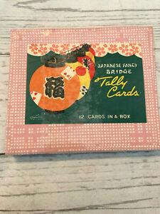 VINTAGE-Japanese-Fancy-Bridge-Tally-Cards-Box-of-12