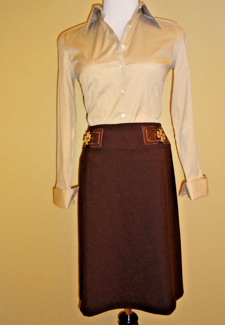 Women's Tory Burch Brown Mini Wool Decorative Logo Waist A-Line Skirt in size 6