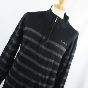 Pierre-Cardin-Black-Striped-Mens-Jumper-Size-2XL