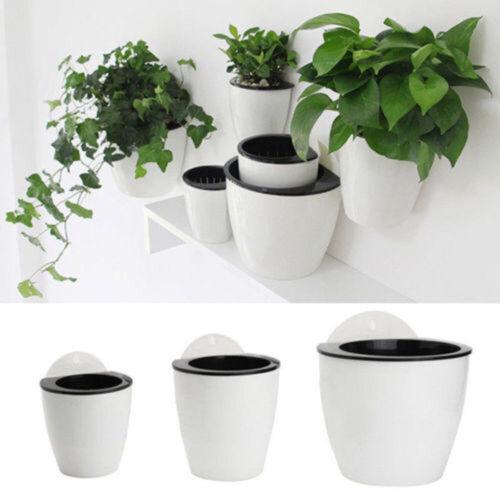 Creative Self-watering Plant Flower Pot Wall Hanging Plastic Planter Home Garden