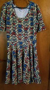 Womans-Lularoe-NICOLE-Dress-Size-XL-Fit-amp-Flare-Style-Short-Sleeve