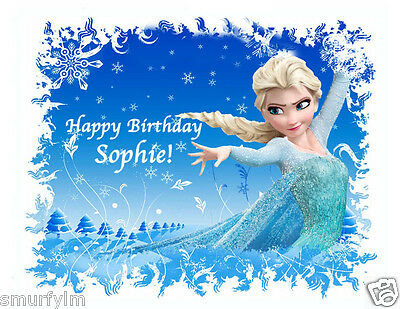 """FROZEN DISNEY ELSA CAKE TOPPER PARTY PERSONALISED RICE/WAFER PAPER  H 6"""" x W 8 """""""