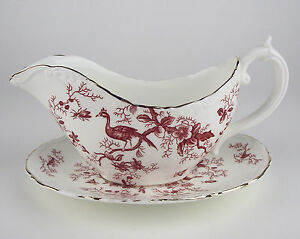 Gravy-Boat-with-Tray-Coalport-Cairo-Red-vintage-birds-insects-bone-china-England