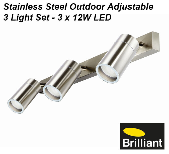 LED Stainless Steel Outdoor Adjustable Exterior Wall Light Set 3 x 12W GU10 240V