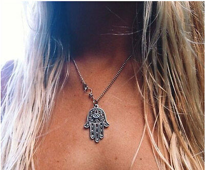 Silver Hamsa Hand Necklace Hand of Fatima Pendant Amulet Evil Eye Jewelry