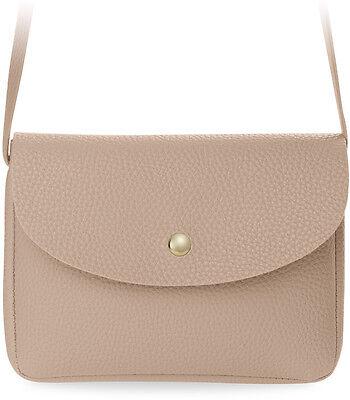 klassische Schultertasche mit Klappe kleine Damentasche rosa