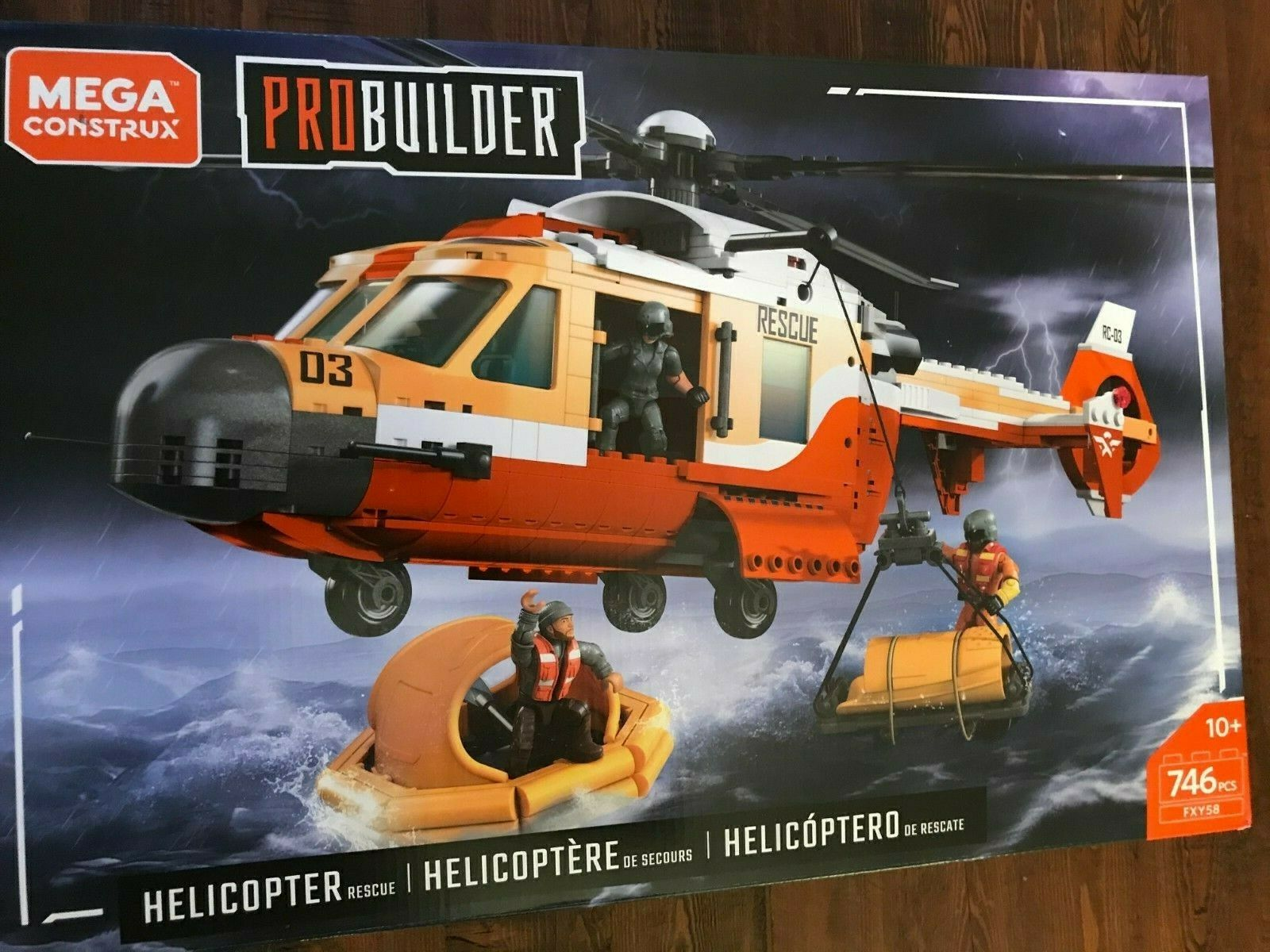 New in Box Mega Construx ProBuilder Helicopter Rescue Set Toy. UPC 887961703979.