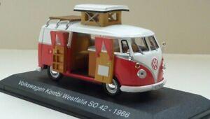 01:43 Volkswagen Vw T1 Camper Van Westfalia Komi 1966 Moulage Sous Pression Ixo Hachette