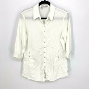 Eileen-Fisher-Size-Small-Solid-White-3-4-Sleeve-Tunic-Button-Down-Shirt