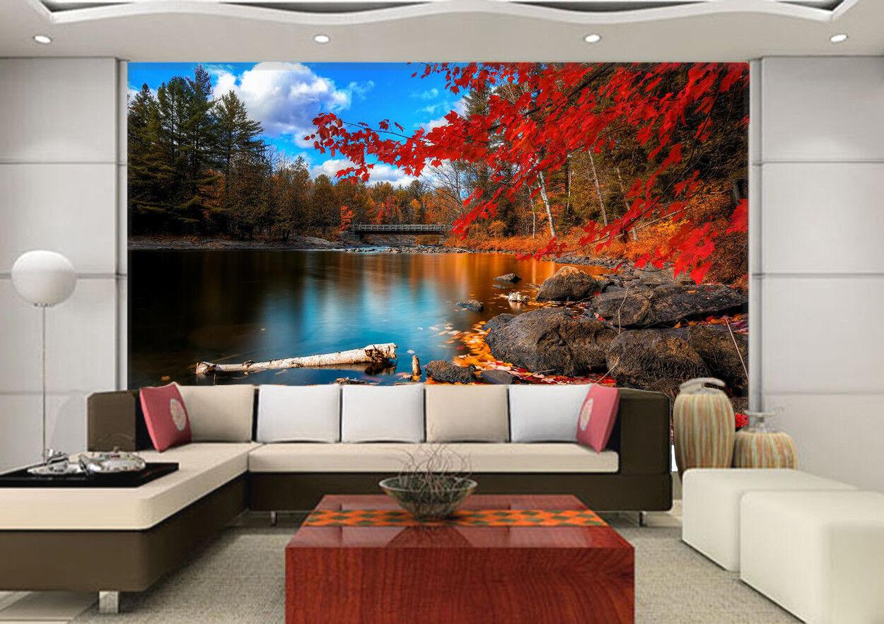 3D Herbst Wald See Natürlich 83 Tapete Wandgemälde Tapeten Bild Familie DE Lemon
