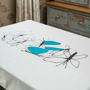 Turquoise Butterfly Design Cotton Tablecloth