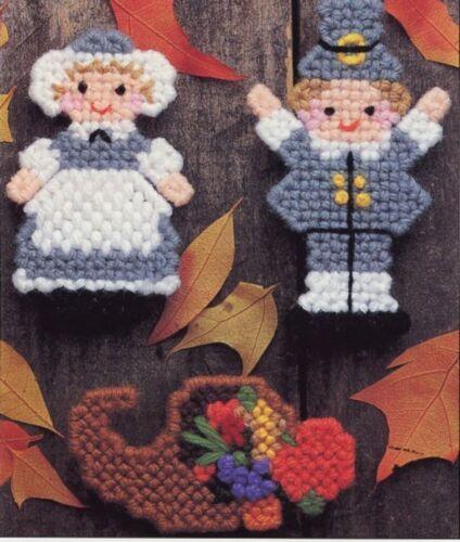 Thanksgiving Magnets Pilgrim Shamrock Plastic Canvas PATTERN//INSTRUCTIONS