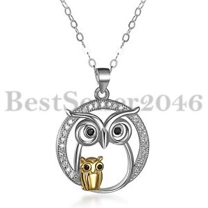 925-Sterling-Silber-Schmuck-Mutter-und-Kind-Eule-Anhaenger-Halskette-Weihnachten