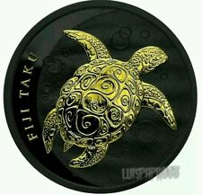 2011 1oz Fiji Taku - Black Ruthenium and 24kt Gilded Coin  mintage of only 200..