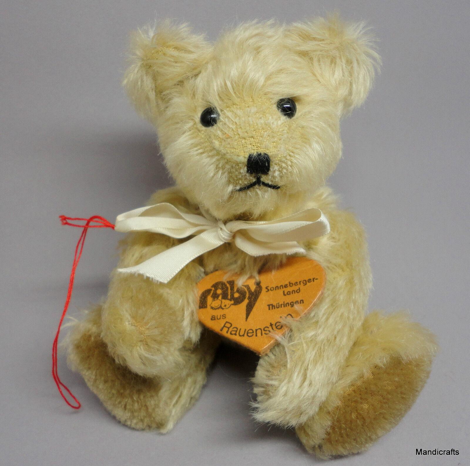 Raby Rauenstein Teddy Bear Mohair Plush 18cm 7in Sonneberg Hang Tag 1990s Vtg