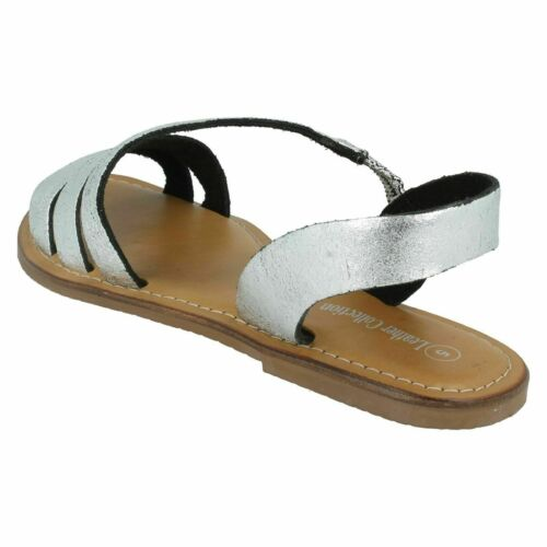 Leather Collection F0R936 Ladies Flat Silver Strappy Sandals R17B